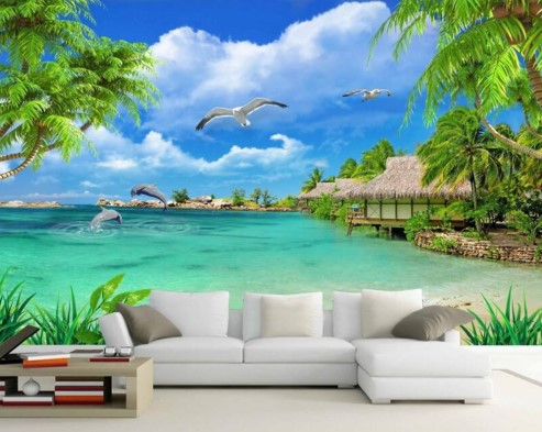 Lukisan Dinding Pemandangan Laut