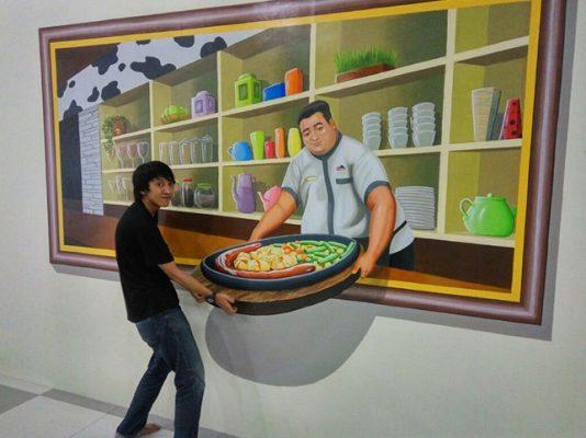 Lukisan Dinding 3D di Cafe